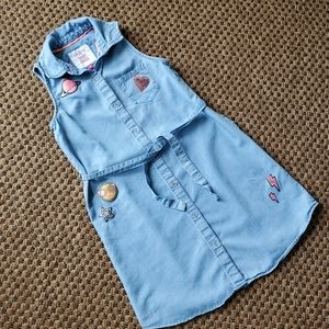 SO Girls Denim Shirt Dress w Embroidered Patches
